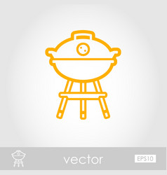 barbecue grill outline icon summer holiday vector image
