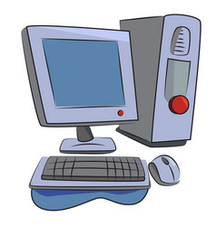 cartoon image of computer icon pc symbol vector image vector image