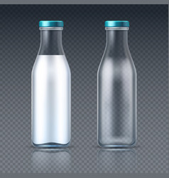 glass beverage bottles empty and with milk dairy vector image