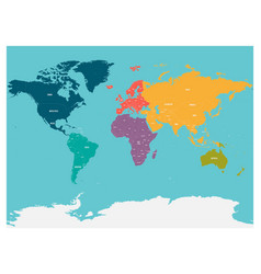 political map of world with antarctica continents vector image