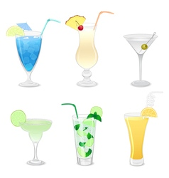 Set of different cocktails vector image