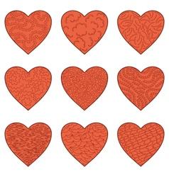 Set Valentine hearts vector image vector image