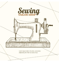 Sewing Machine Banner Card Hand Draw Sketch vector image vector image