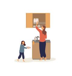 09 woman washing dishes vector image
