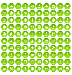 100 emotion icons set green circle vector