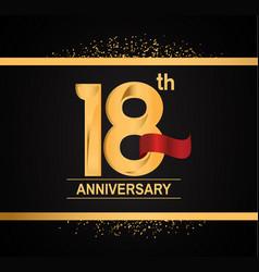 18 years anniversary logotype with premium gold vector