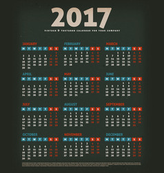 2017 design calendar on black background vector image