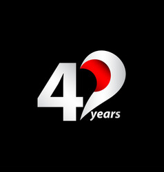 40 years anniversary celebration white and red vector