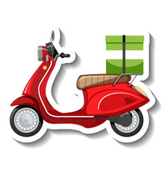 A sticker template with scooter for food delivery vector