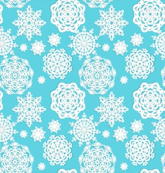 Applique snowflakes Christmas seamless background vector image