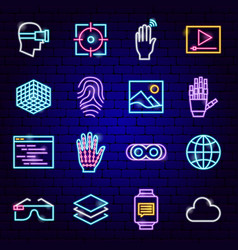 Augmented reality neon icons vector