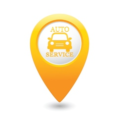 auto service icon on yellow pointer vector image vector image