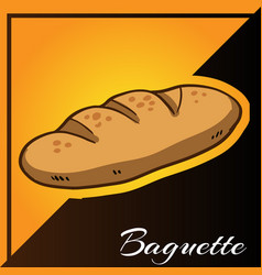 Bakery two tone background with baguette vector