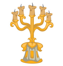 Baroque epoch style candlestick with candles vector