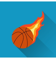 Basketball on fire flat design vector image