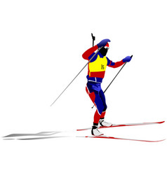 Biathlon runner colored silhouettes vector