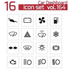 black car dashboard icons set vector image