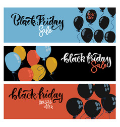 black friday sale horizontal web banners set vector image