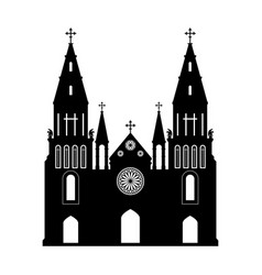 black silhouette of gothic church vector image