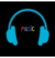 Blue headphones with dash line and word music vector