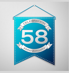 blue pennant with inscription fifty eight years vector image