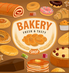 bread cake and croissant bakery and pastry vector image
