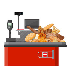 Bread products in checkout counter vector