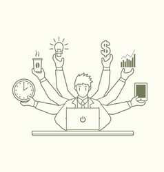 Busy businessman with many hands holding many item vector