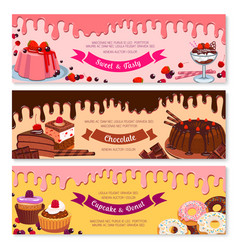 cake dessert and ice cream banner set design vector image