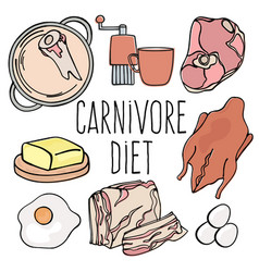 Carnivore menu organic healthy diet vector