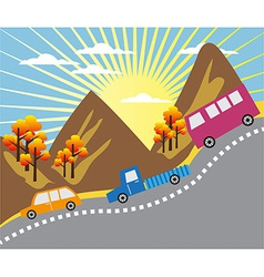 Cartoon mountain ride background vector image