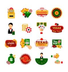 Casino decorative icon set vector