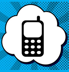 cell phone sign black icon in bubble on vector image