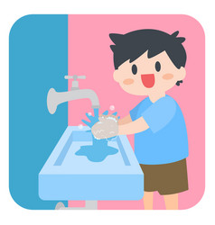 Children little boy washing hands with soap vector