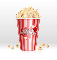 Cinema food popcorn in disposable bowl realistic vector