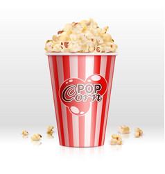cinema food popcorn in disposable bowl realistic vector image