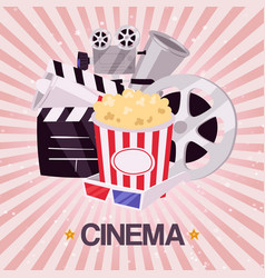 Cinema movie and popcorn bowl film strip and vector