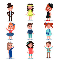 Collection of cute kids characters dressed up in vector