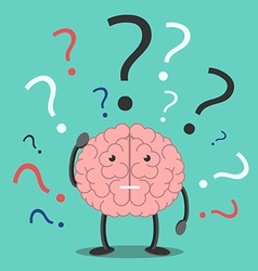 Confused brain character thinking vector image