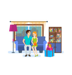 couple on background of the interior of the room vector image