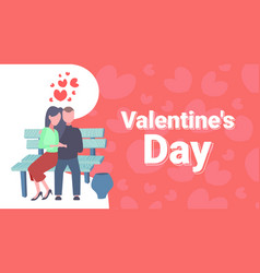 couple sitting wooden bench happy valentines day vector image