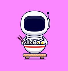 Cute astronaut eatiang ramen noodle cartoon icon vector