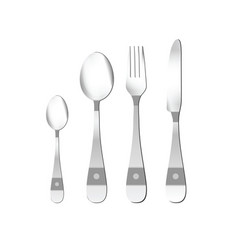 Cutlery in silver with detail vector