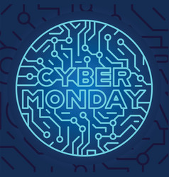Cyber monday on blue electrical circuit background vector