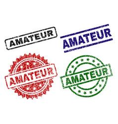 Damaged textured amateur stamp seals vector