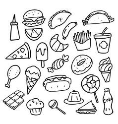 Doodle food set vector