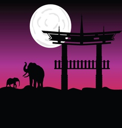 Elephants and chinese buildings art color vector