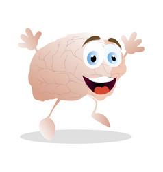 Emotion happiness brain cartoon mascot vector