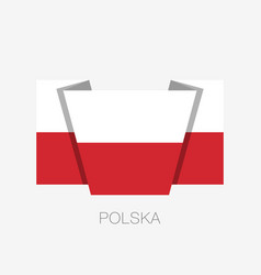Flag of poland flat icon waving flag with country vector