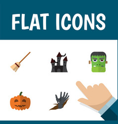 flat icon celebrate set of gourd monster zombie vector image